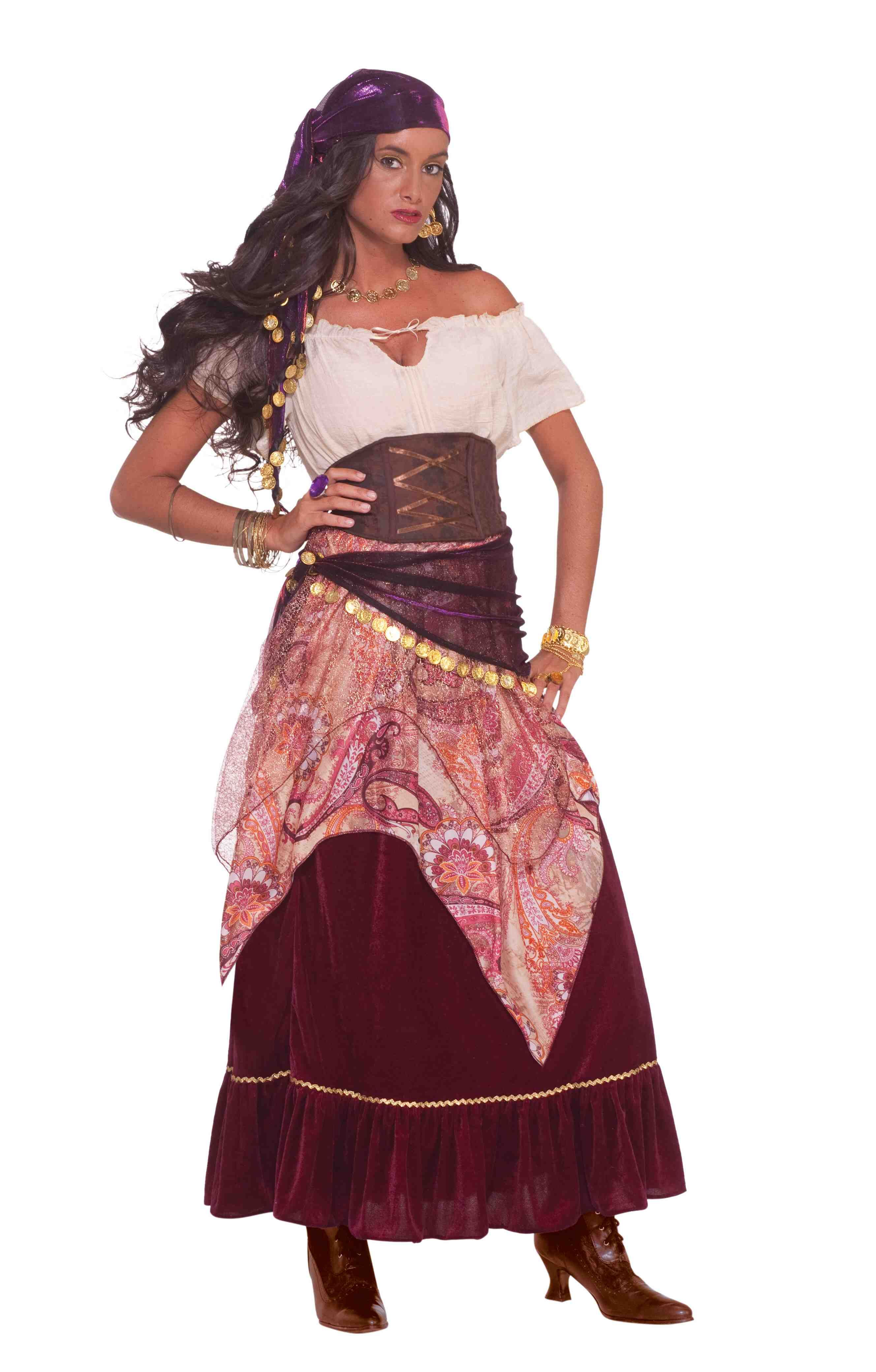 3cc76c63c4 Details about Bohemian Babe Gypsy Pirate Fortune Teller Fancy Dress ...