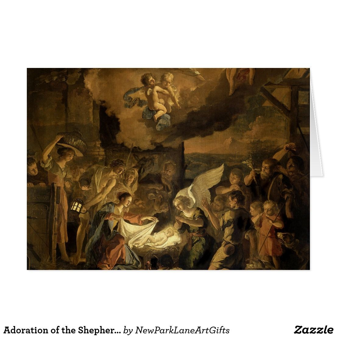 Adoration of the Shepherds Fine Art Christmas Holiday Card ...
