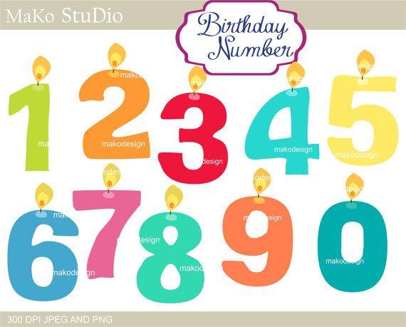 Number clip art birthday number clip artcandle clip by makostudio