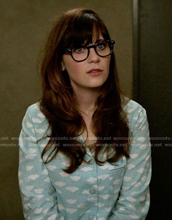 Jess s blue cloud print pajamas on New Girl. Outfit Details  https    8d45c25f7