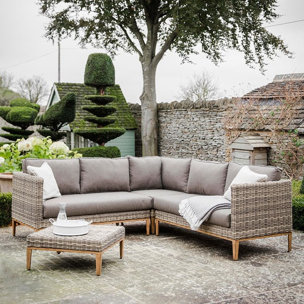 Garden Trading Walderton Corner Sofa Set In All Weather Rattan Garden Sofa Set Rattan Corner Sofa Outdoor Sofa Sets