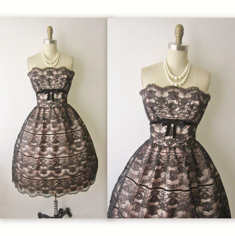50\'s Lace Illusion Dress // Vintage 1950\'s Strapless Black Lace ...