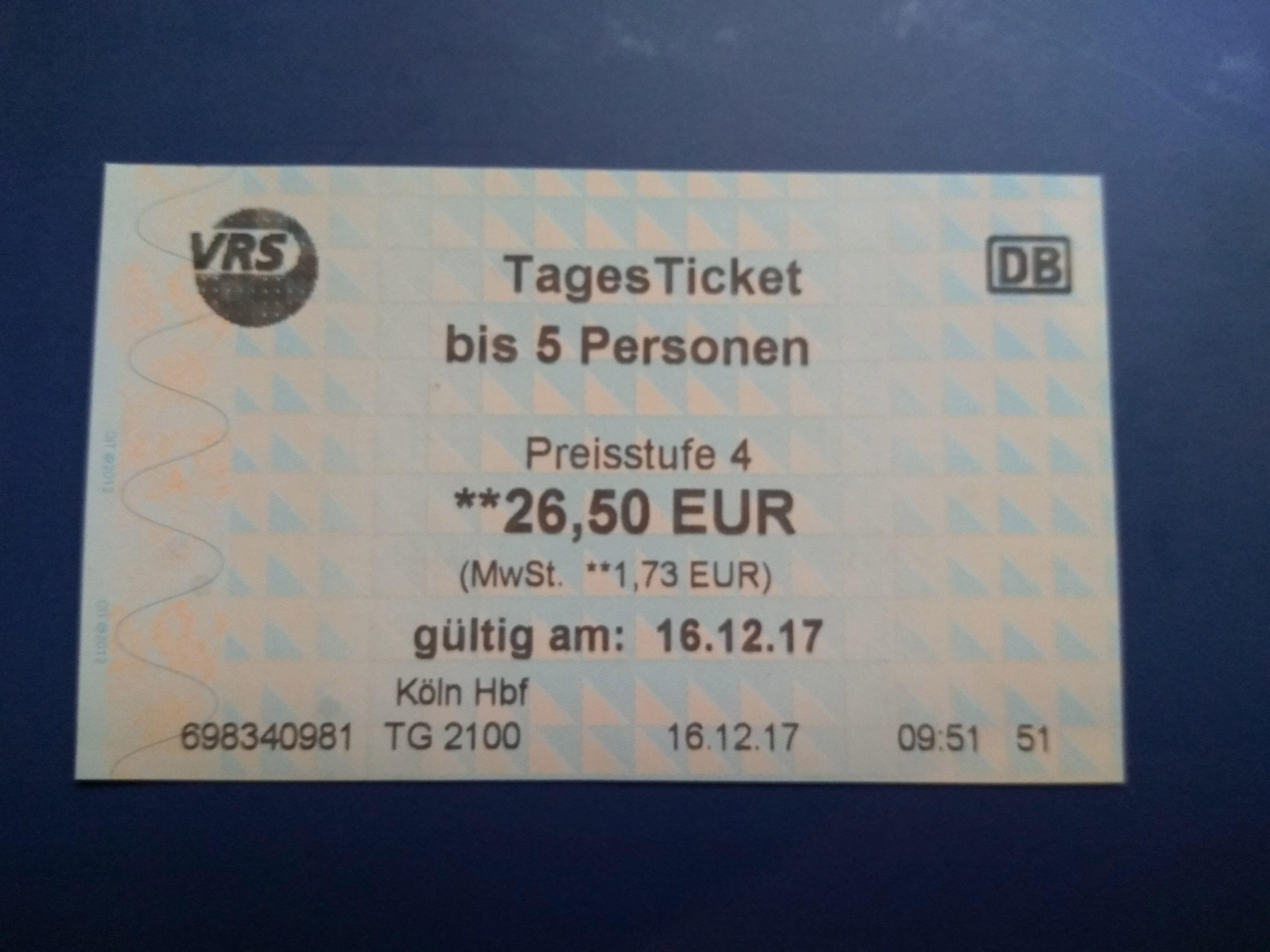 Ticket diario para 5 personas Colonia