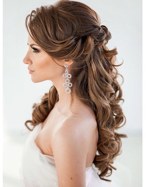 45 best wedding hairstyles for long hair 2018 penteados cabelo e half up half down wedding hairstyles curly hair curled waves hair down wedding hairstyles junglespirit Images