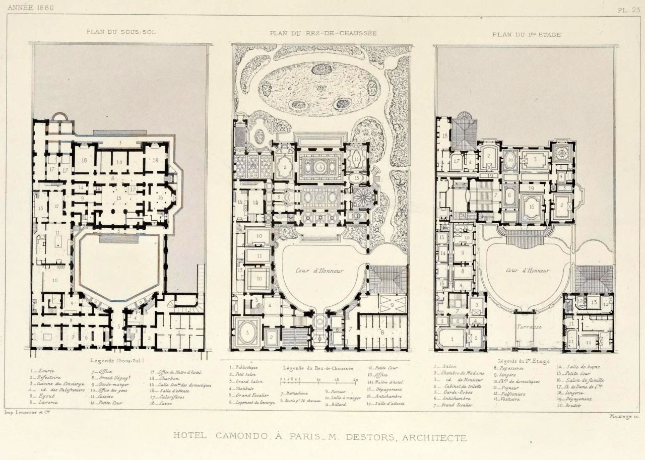 Floor Plans Of The Former Hôtel Camondo, Paris