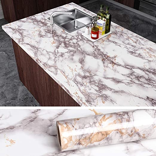Veelike Grey Marble Contact Paper Counter Top Covers Peel And Stick Wallpaper Granite Wall Paper Kitchen Kitchen Wall Covering Countertops White Marble Design