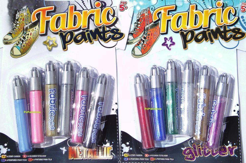 6 Fabric Paint Pens Art T-Shirt Clothes METALLIC GLITTER Party Bag Filler Boys