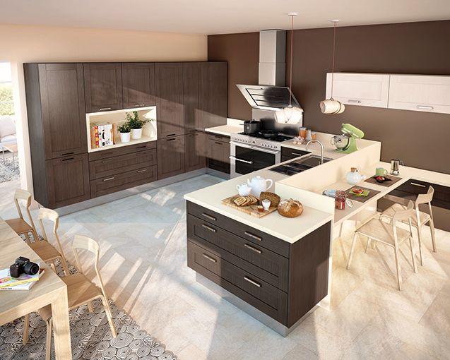 Cuisines équipées, Cuisines aménagées - Cuisine Moderne, Design, Bois - modele de cuisine americaine