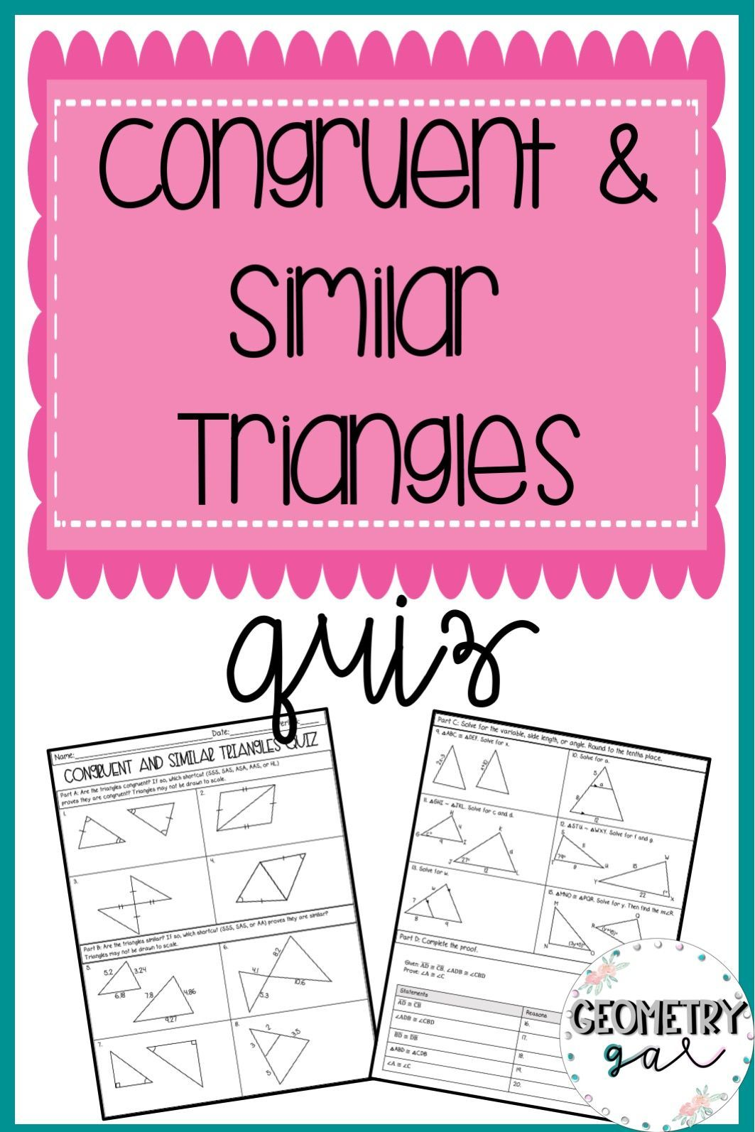 Congruent and Similar Triangle Quizzes Similar triangles