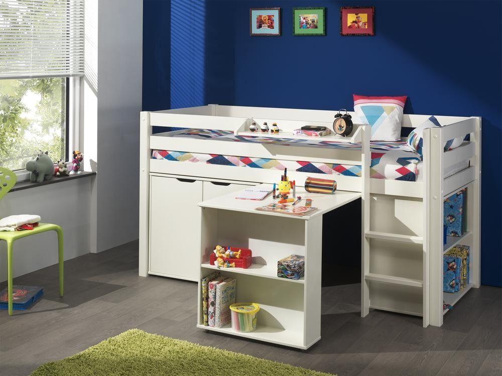 Acheter un lit mihauteur blanc avec bureau bibliothque