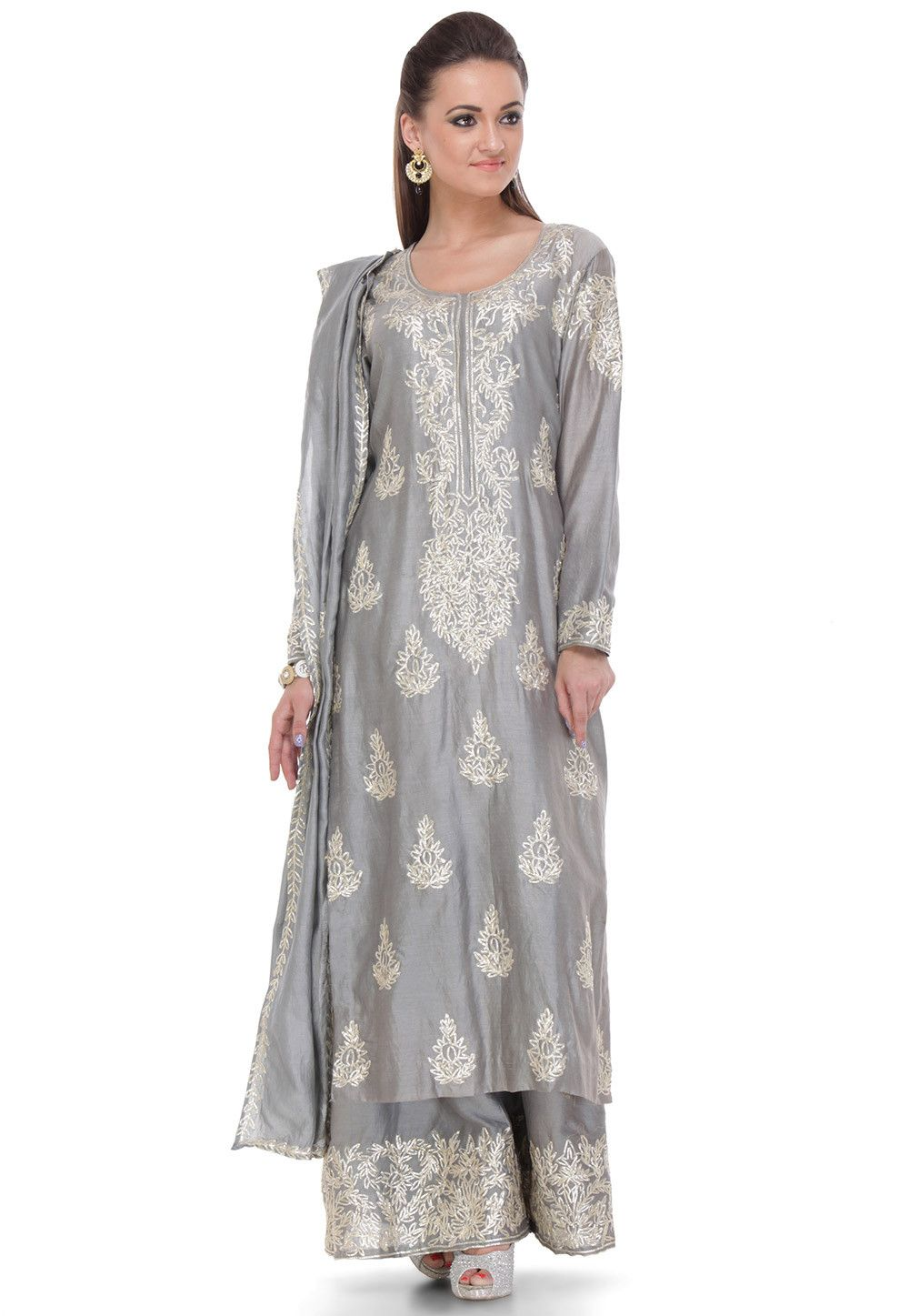 93a8e4b7b3 Buy Hand Embroidered Straight Cut Pure Chanderi Silk Suit in Grey online,Item  code: KUL42, Occasion: Festival, Party, Work: Contemporary, Foliage Print,  ...