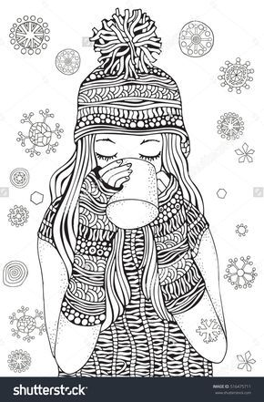 Winter Girl And Gifts Snowflakes Adult Coloring Book Page Hand Drawn Vector Illustration Pattern For Zentangle