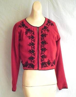 1950s Vintage Red Cardigan Sweater with Black Beading 40 bust