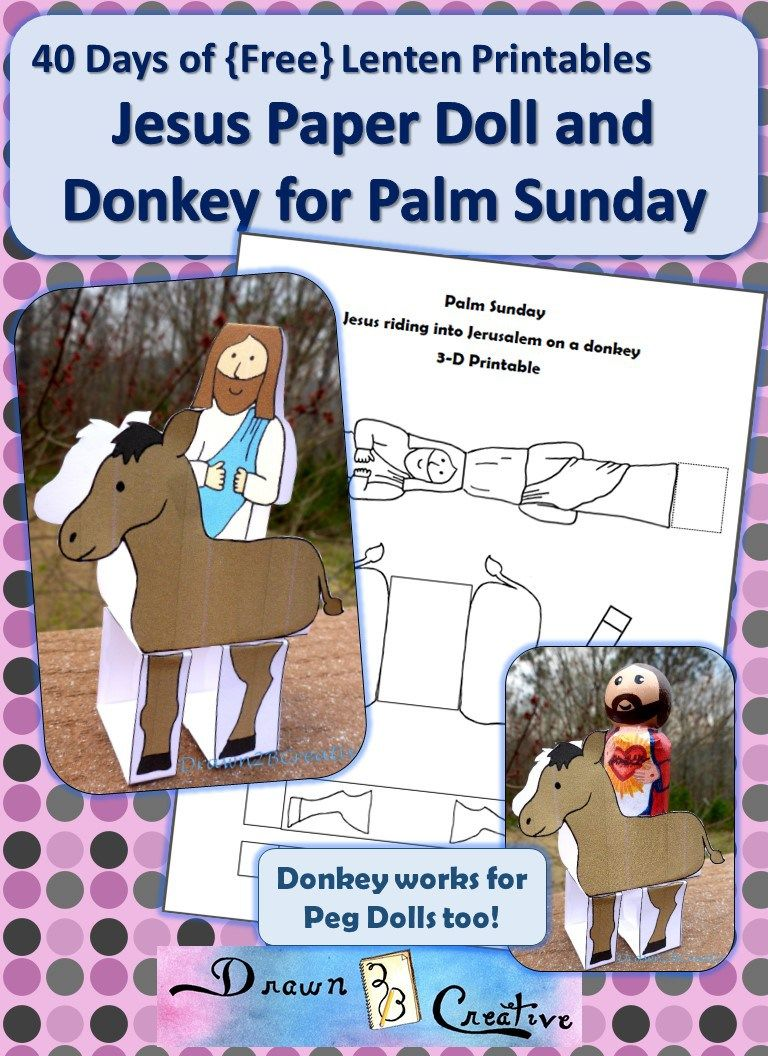 Palm Sunday Paper Doll Jesus and Donkey | easter | Pinterest ...