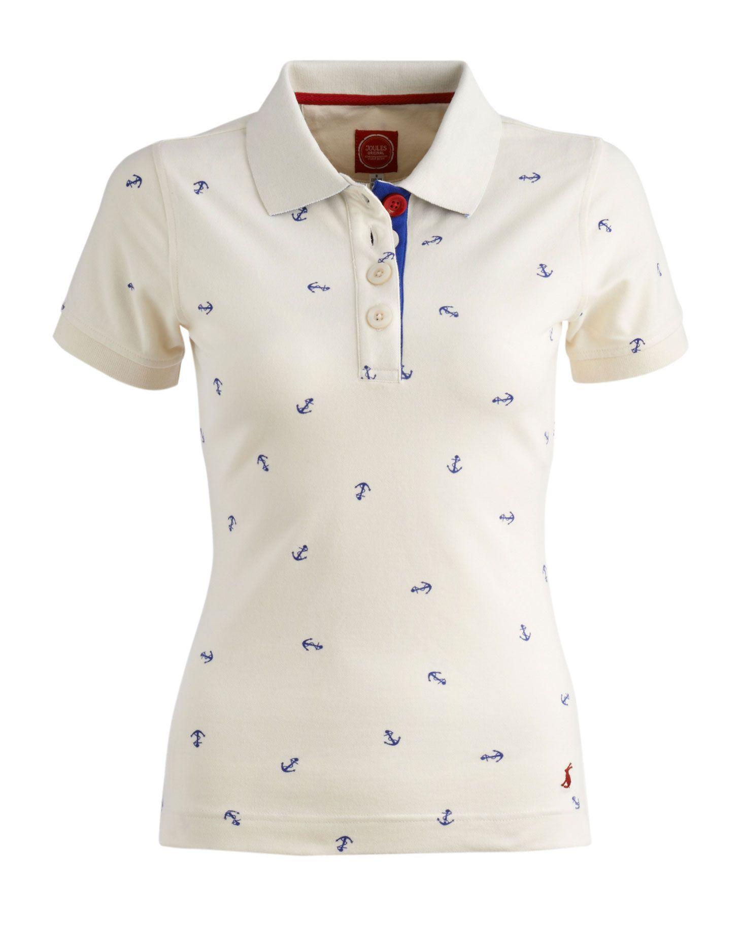 Creme Jetty Womens Print Polo   Joules UK   Polo shirt women ...