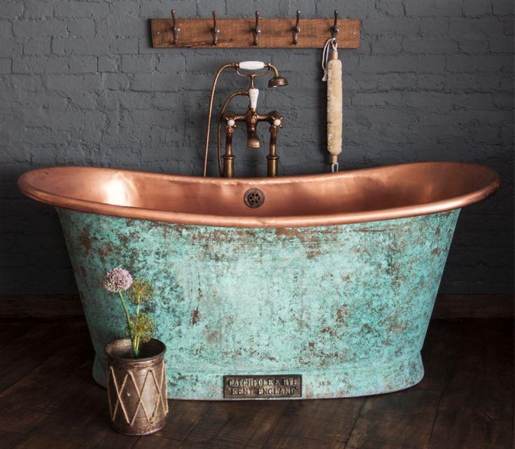 The Copper Bateau In Weathered Copper Catchpole Bateau Bath Catchpole Copper Weathered Mit Bildern Luxusbad Kupfer Badezimmer Moderne Waschbecken