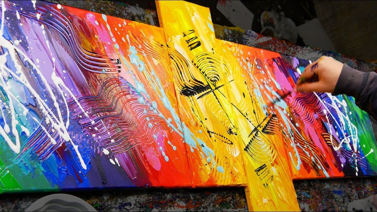 HOW TO make an AMAZING Abstract Painting With Very BRIGHT