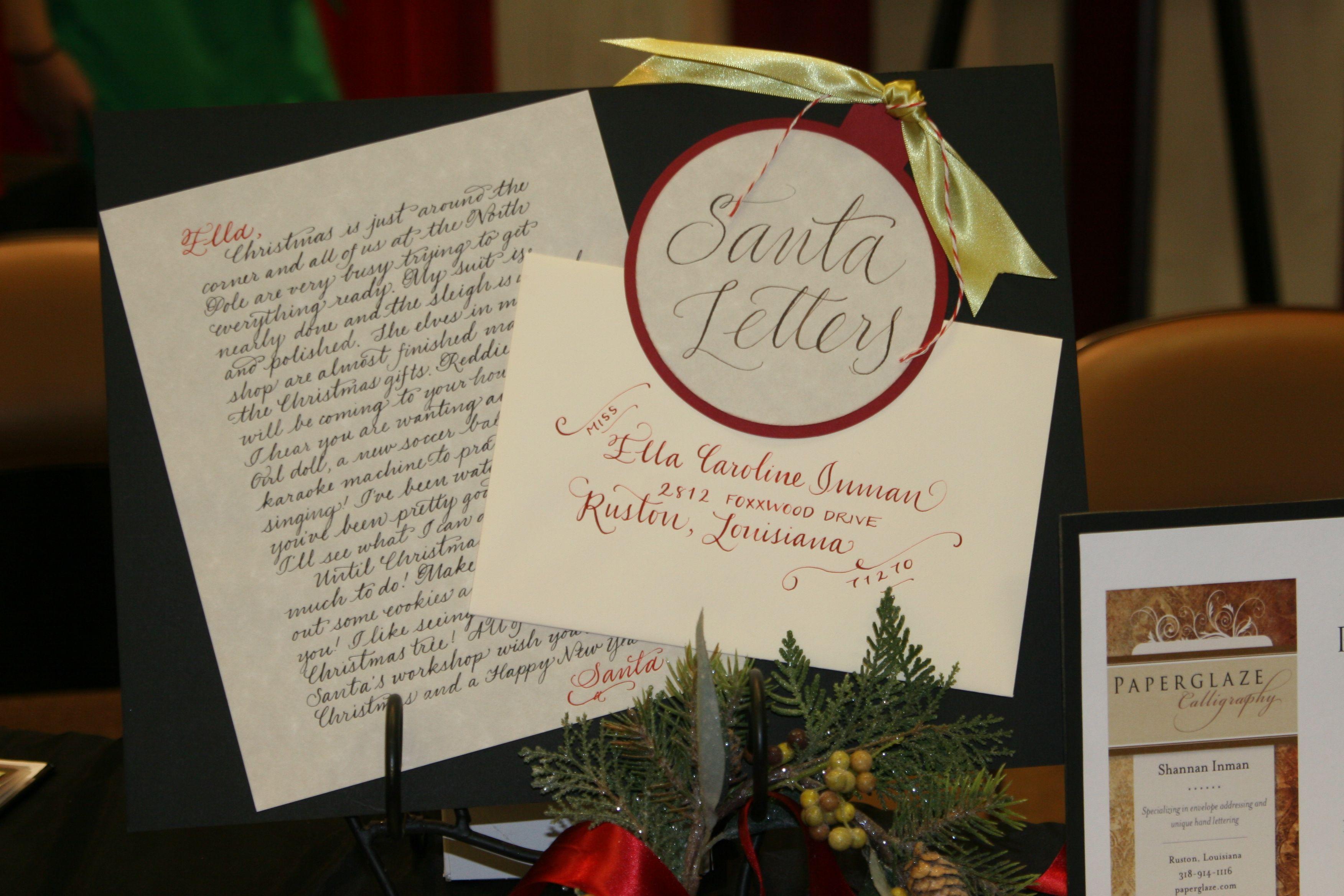 handwritten letters/envelopes from Santa. You provide the