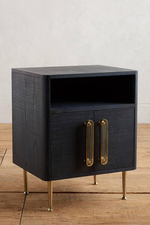 Odetta Navy Crosshatch Brass Nightstand cabinet