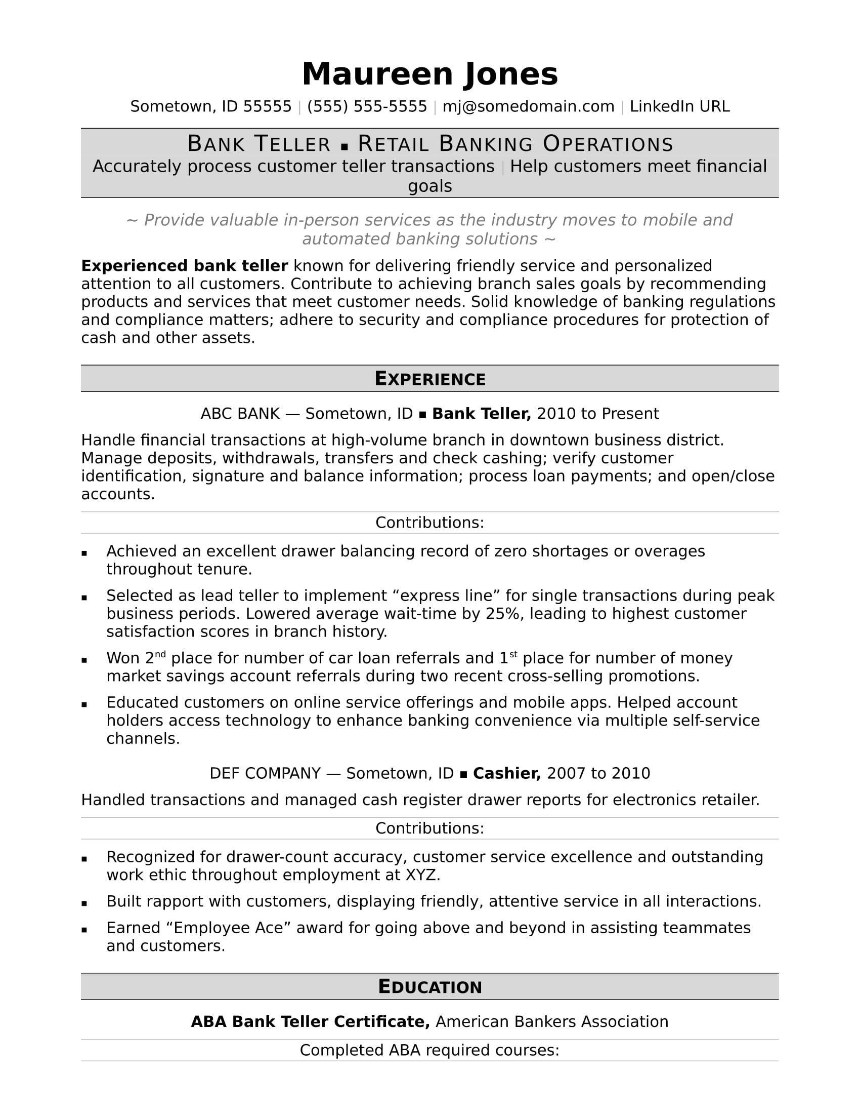 Bank Teller Resume Bank Teller Job Resume Template Resume Examples Job Resume Bank J Bank Teller Resume Job Resume Job Resume Samples