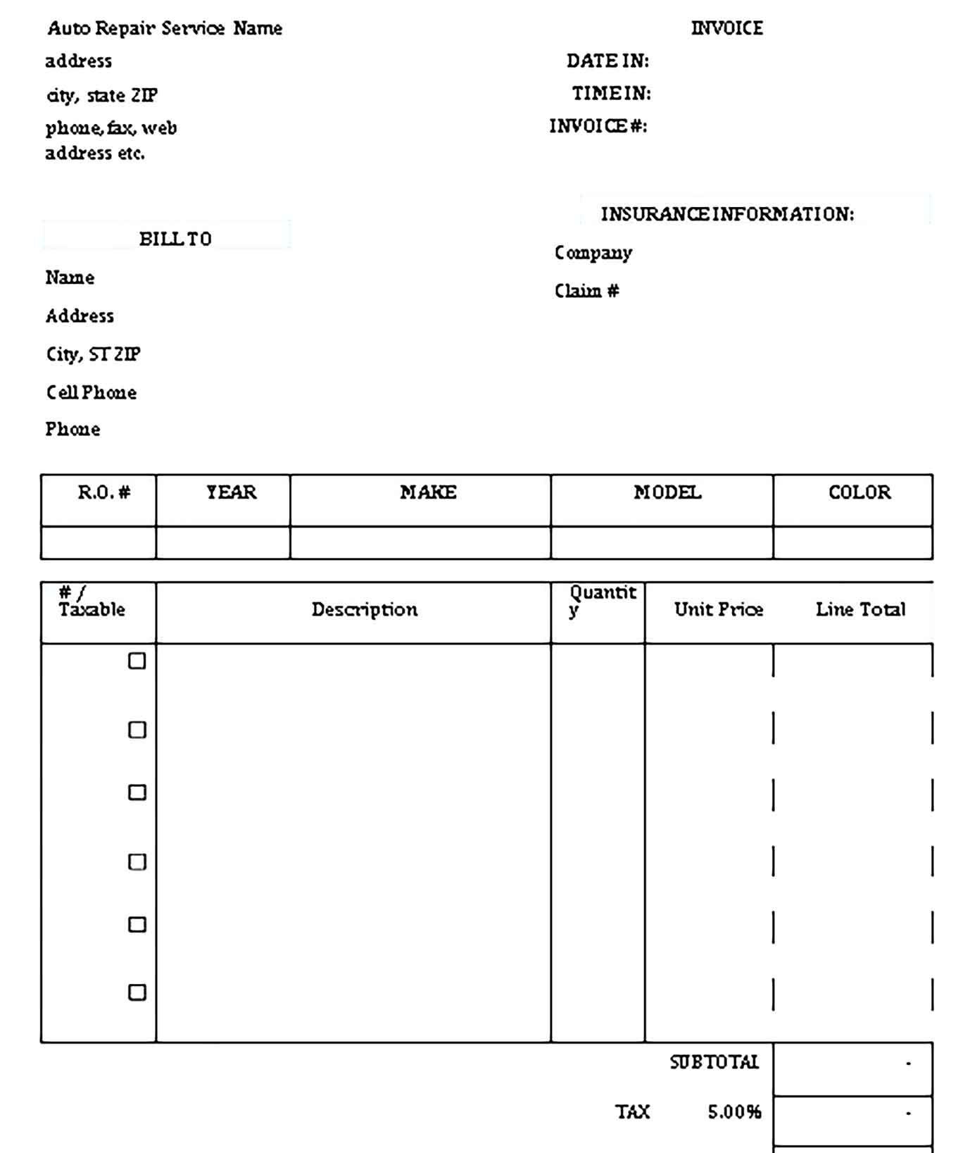 Sample Repair Receipt Template Receipt Template Templates Business Template