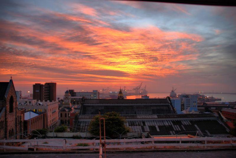 A sunrise scene over Port Elizabeth harbour.