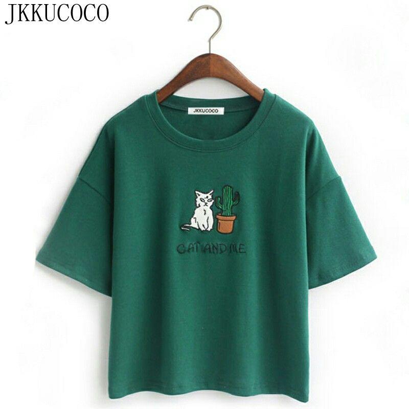 Women Harajuku T Shirt Cat Embroidery Cotton Tops IT.