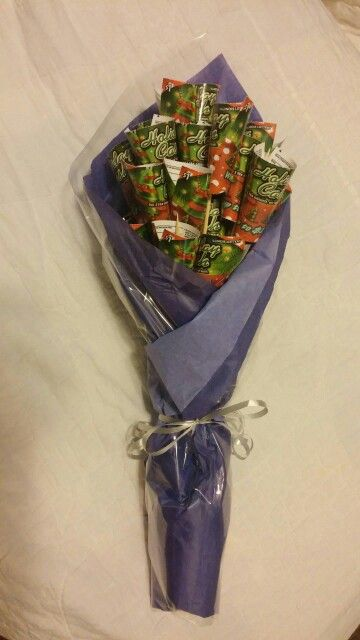 Valentines gift for him....scratch off lotto tickets taped to skewer sticks, all wrapped up!