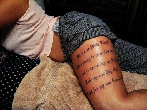 Quote Tattoos Thigh: Upper Thigh Quote