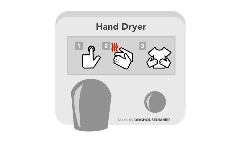 Esta es la manera real en que funciona el secador de manos :P