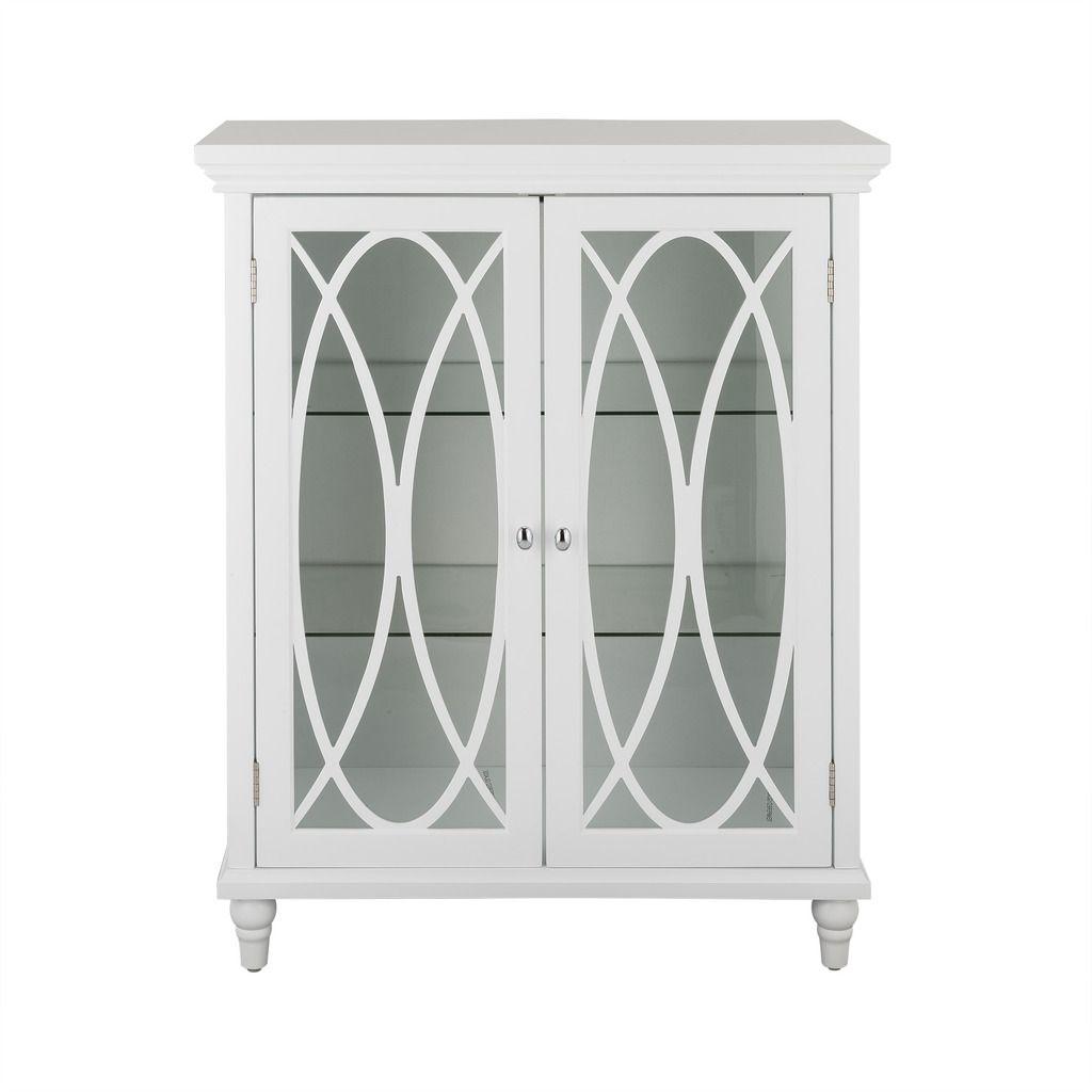 Elegant Home Florence Double Door Floor Cabinet White Tempered Glass Shelves House Styles Elegant Homes