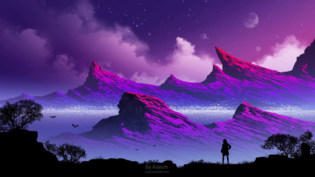 Wallpaper Silhouette Mountains Clouds Art Fog Loneliness