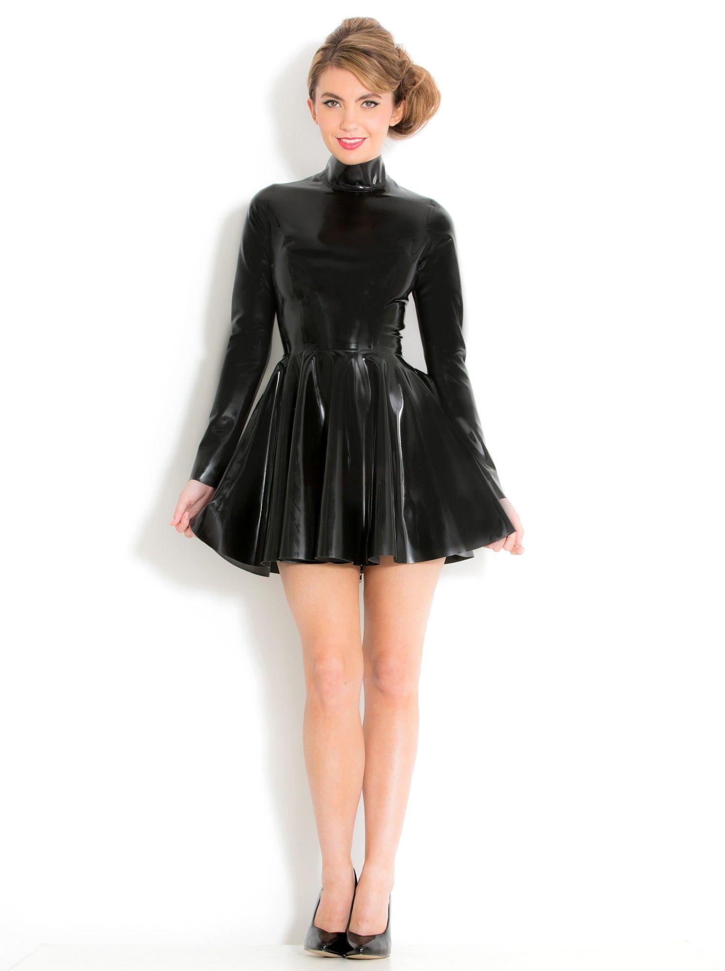 3fc32c03a8 Fabulous high neck skater dress black in latex rubber honour clothing jpg  1493x2000 Rubber skater dress