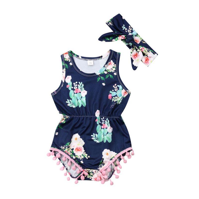 2019 Baby Girls Backless Flower Halter Romper Jumpsuit Playsuit Outfits Sunsuit