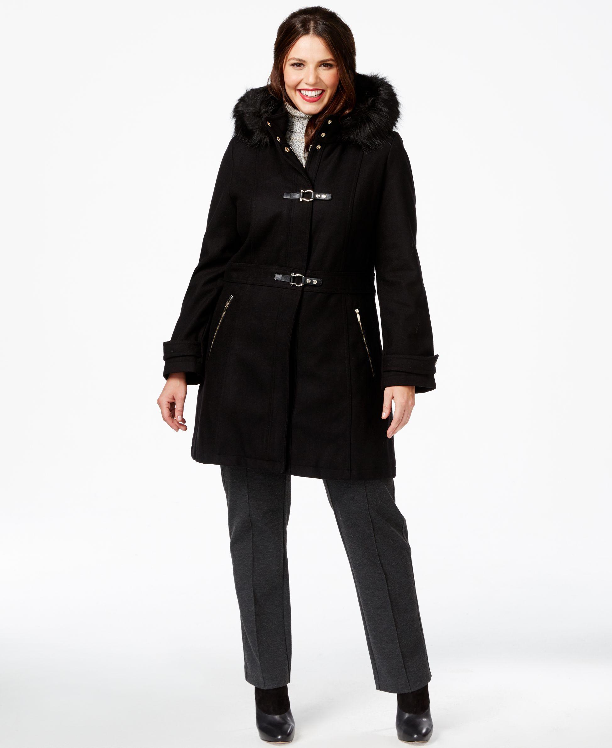 66d00dd506e Ivanka Trump Plus Size Faux-Fur-Trim Buckled Duffle Coat