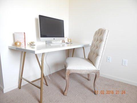 Ikea Desk Hack Beautiful Gold Desk Under 100 Youtube Desk Office Color Schemes Gold Desk