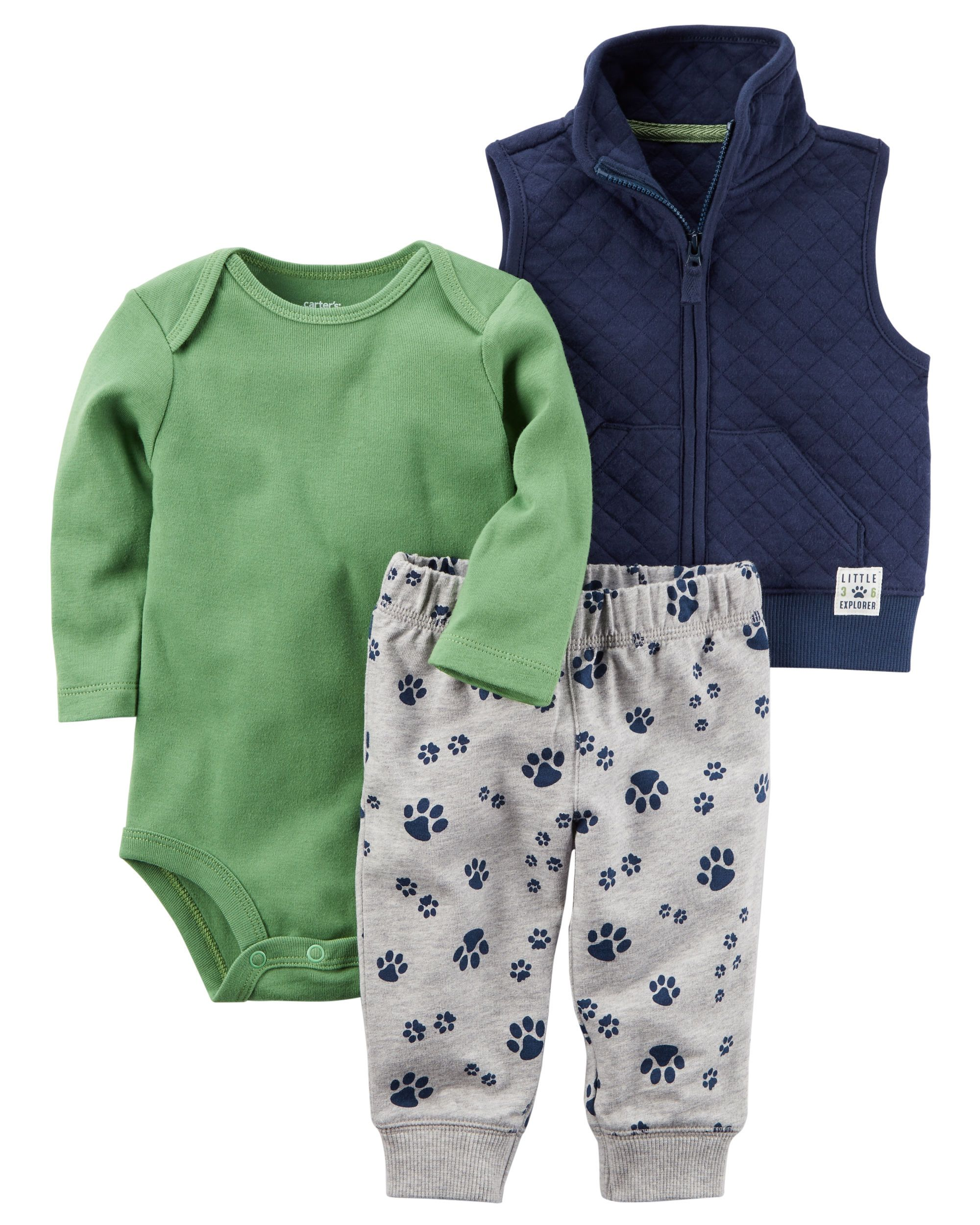 Carter/'s 3-Piece Little Vest Set Newborn Animals