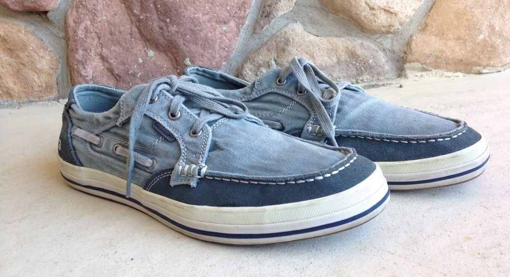 Skechers Mens Size 11 Relaxed Fit Memory Foam Boat Shoes Gray