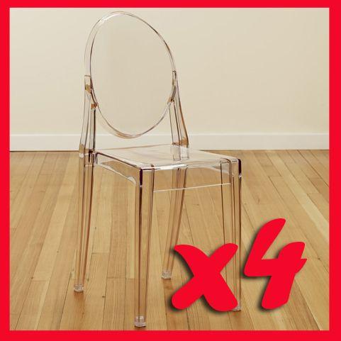 4 set pcs louis ghost chair acrylic transparent chair victoria