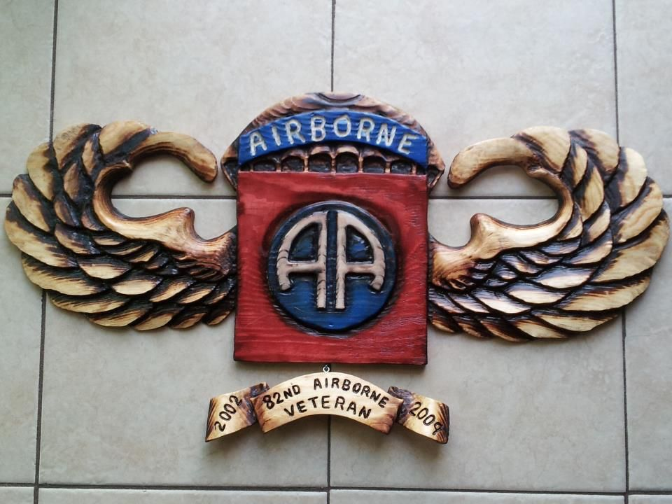82nd airborne plaque by black hearts chainsaw art www
