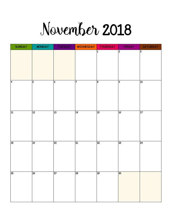 2018 Monthly Calendar Printable Mambi Inserts Big 2018
