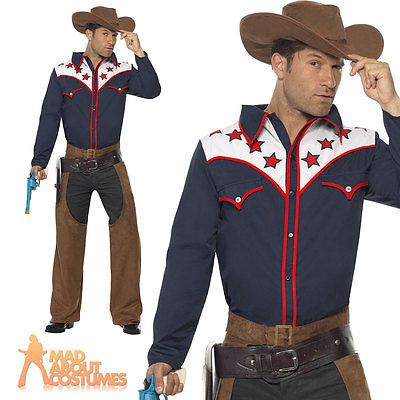 Western Cowboy Wild West Stag Night Adults Mens Fancy Dress Costume
