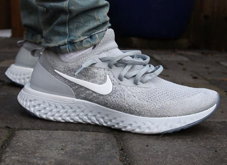 outlet store ee0b6 d0107 Nike Epic React Flyknit grise Wolf Grey on feet AQ0067-002
