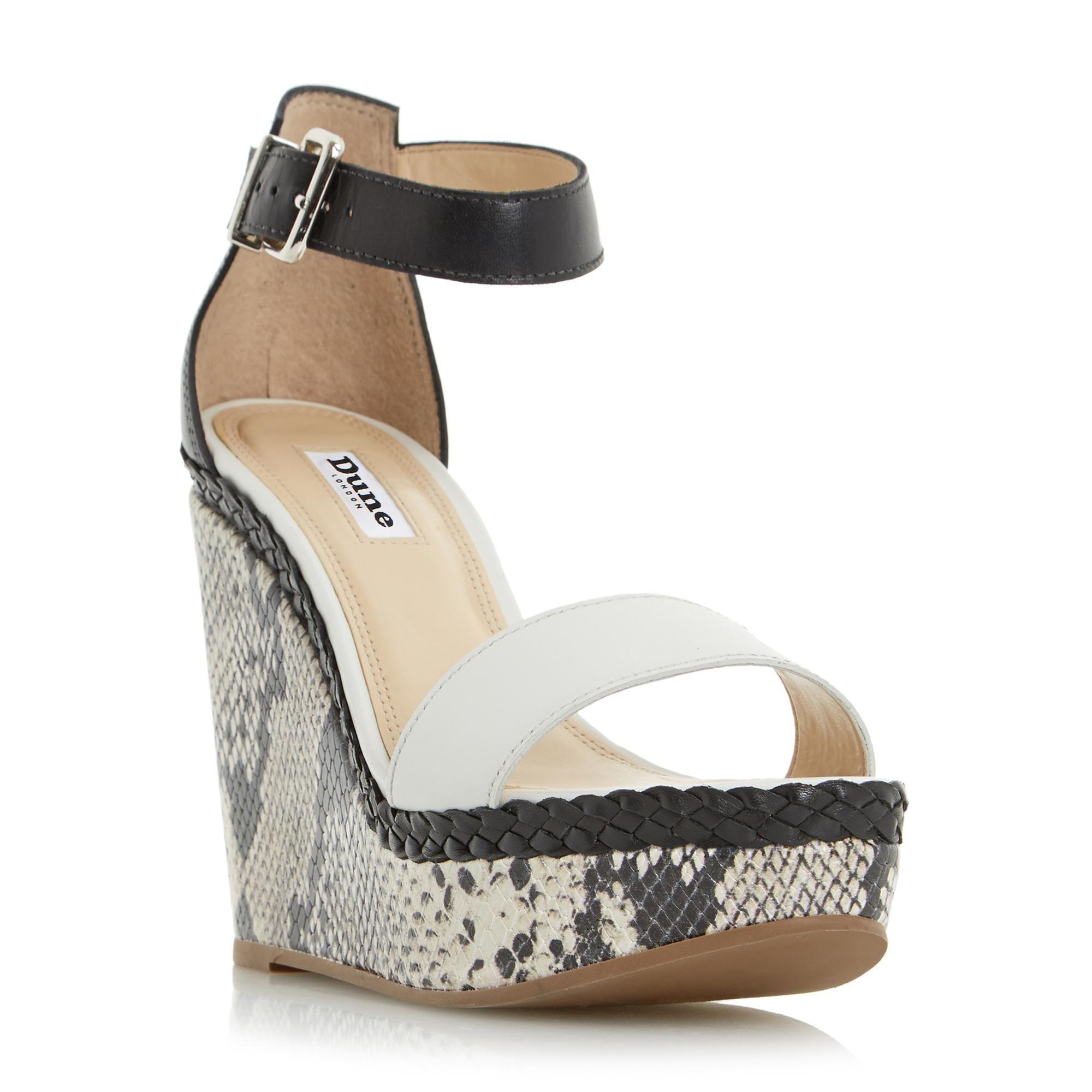 DUNE LADIES KANDY - Reptile Print Wedge Sandal - black   Dune Shoes Online