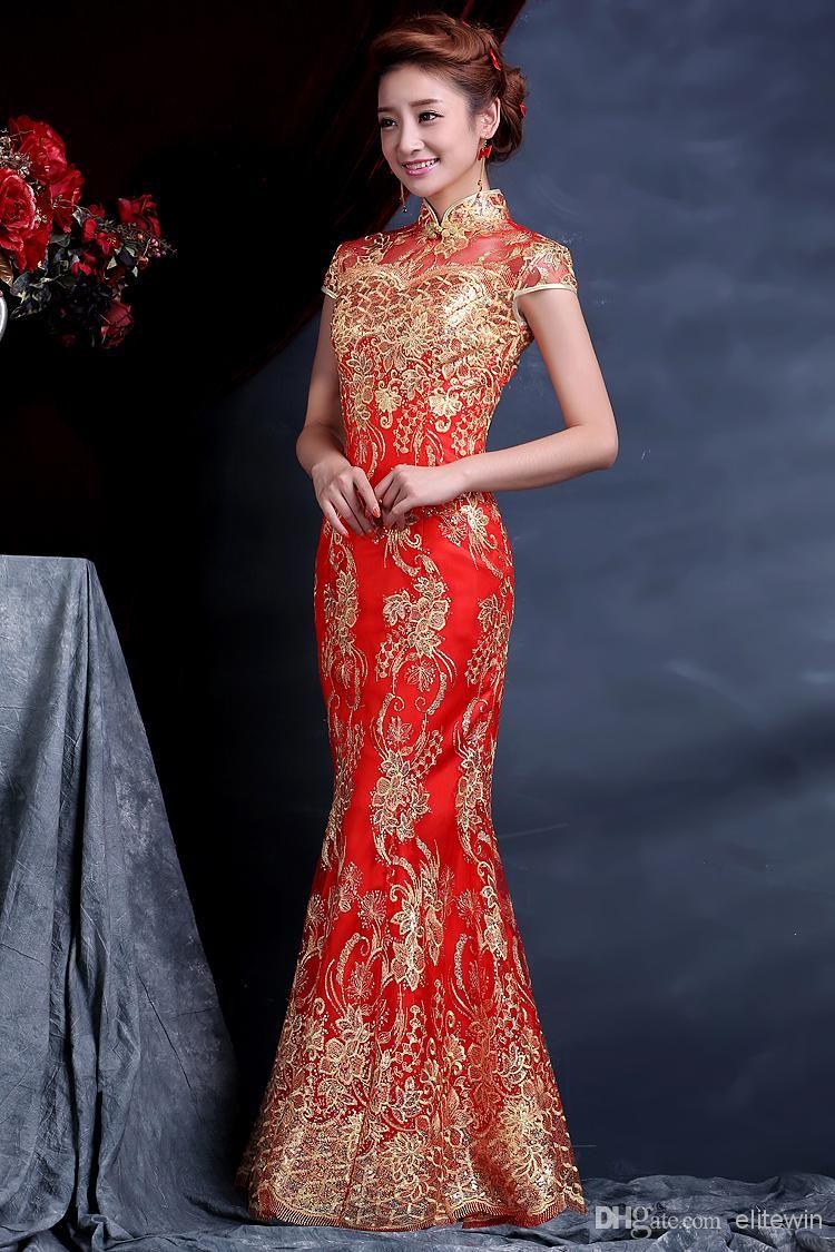 NEW Hot Sale! Luxury and Elegant Women Lace Silk Slim Chinese ...