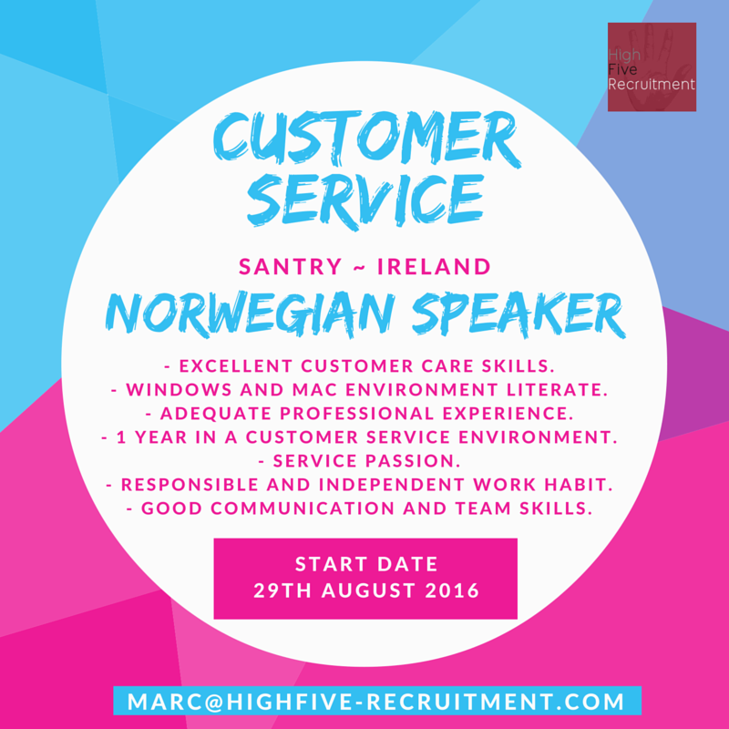 #Norwegian speaker? We have an #opportunity for you! Customer service job based in #Ireland, submit your CV (in English) at marc@highfive-recruitment.com  #norwegianspeaker #santrycity #highfiveyourjob #recruitment #success #potential #hiring #career #greatjob #chance #customerservice #highfiveyourcareer #decision #candidate #business