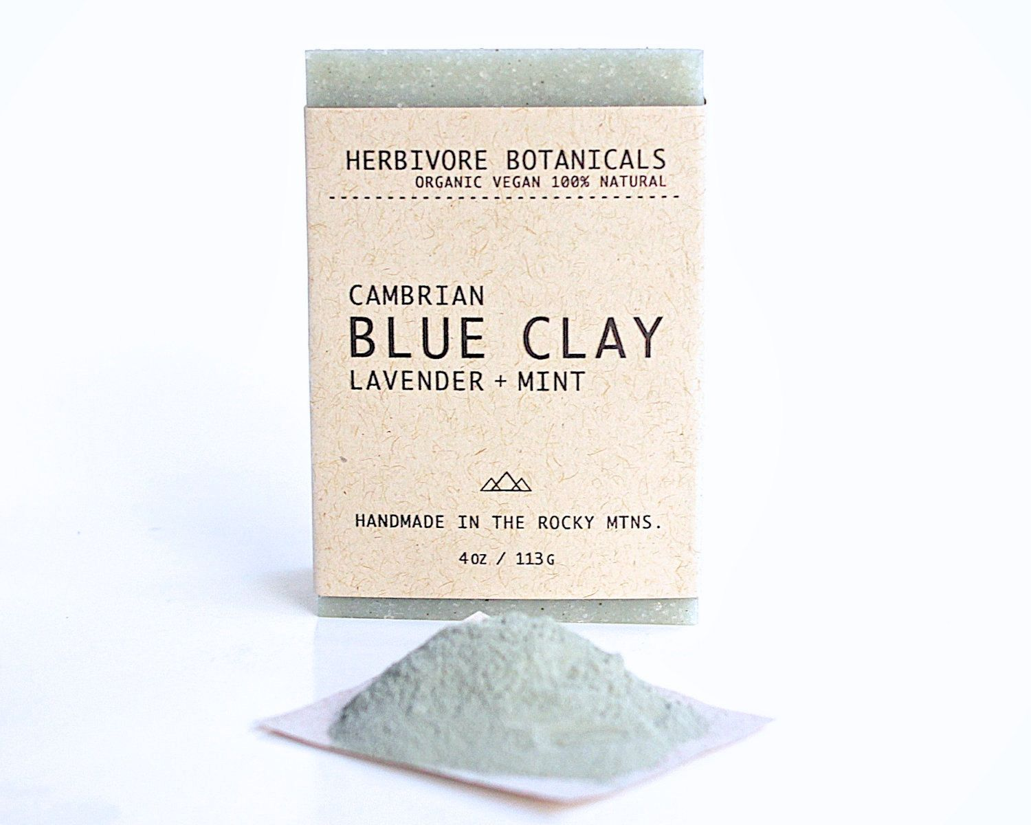 Organic Cambrian Blue Clay Soap. Face and Body Soap. Vegan Handmade Soap. 100% Natural. Lavender Mint. Essential Oil.. $7.50, via Etsy.