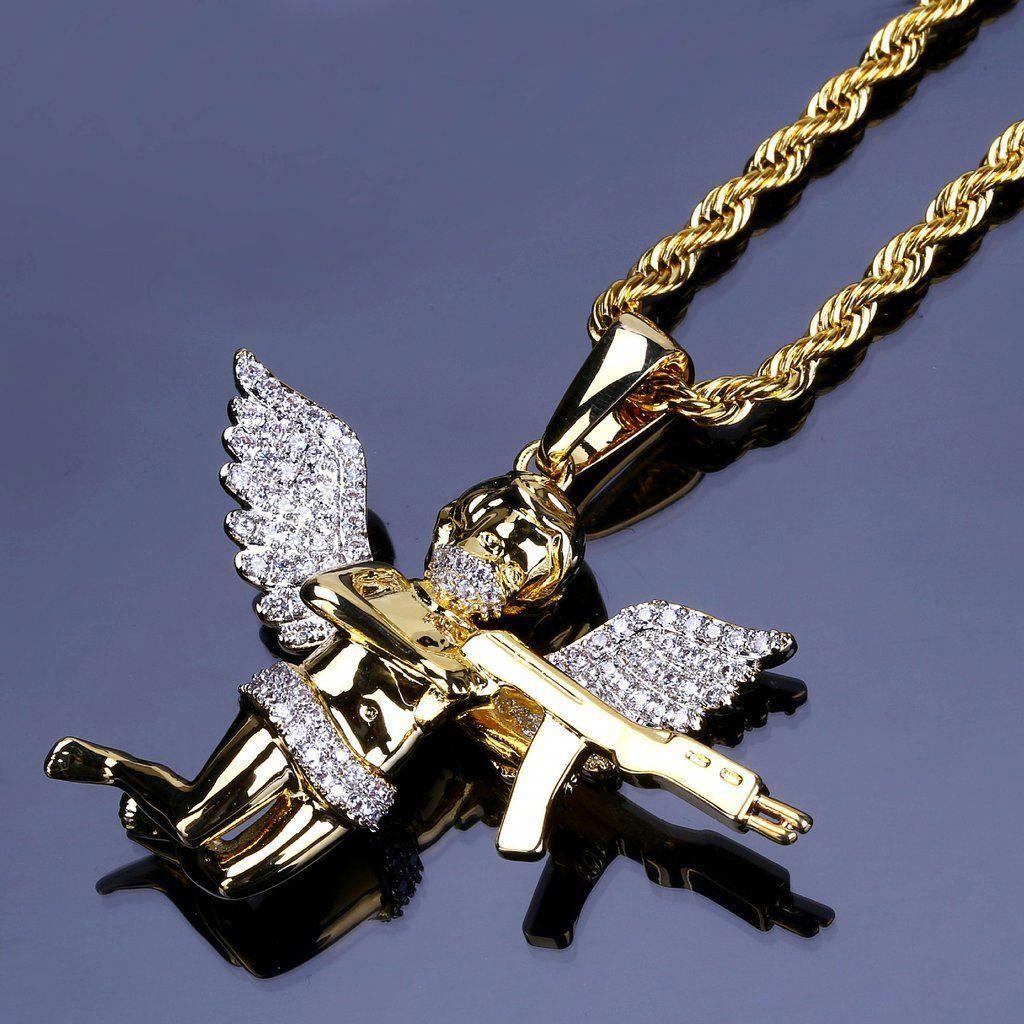 Little love god cupid archery hip hop necklace micro inlaid pendant