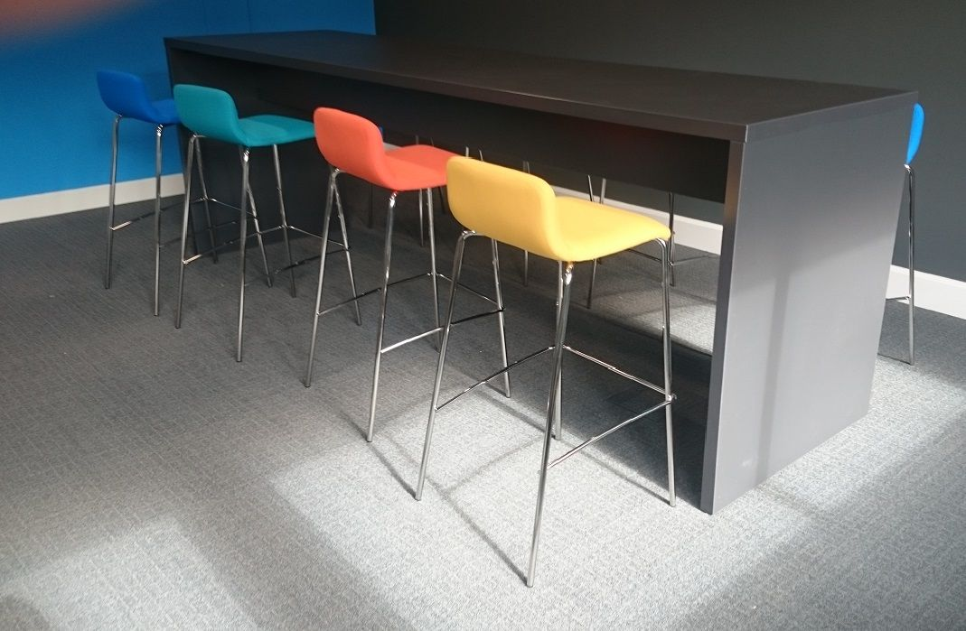 Black Tall Table With Multi Coloured Stools