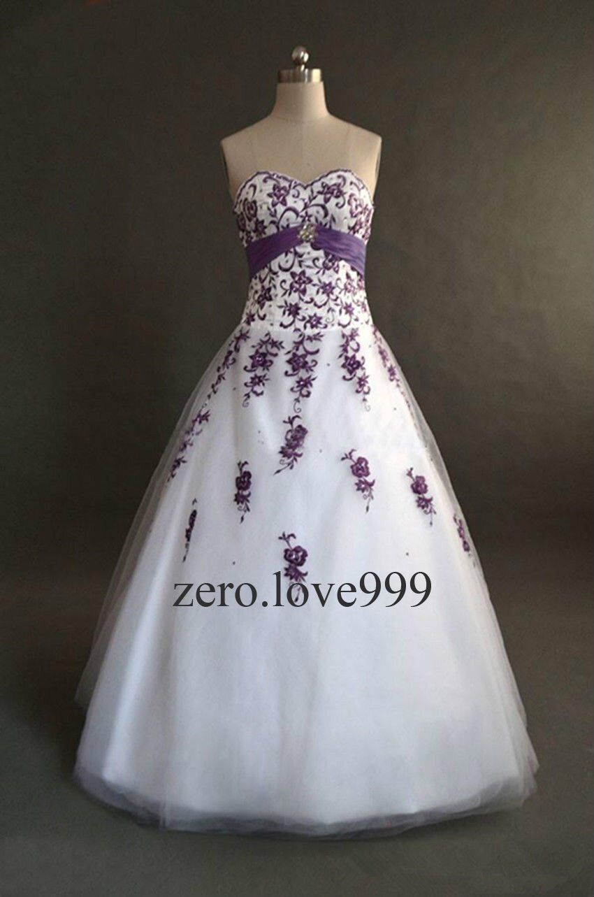 New White+Purple Wedding Dresses Bridal Gown Custom Size 6-8-10-12 ...